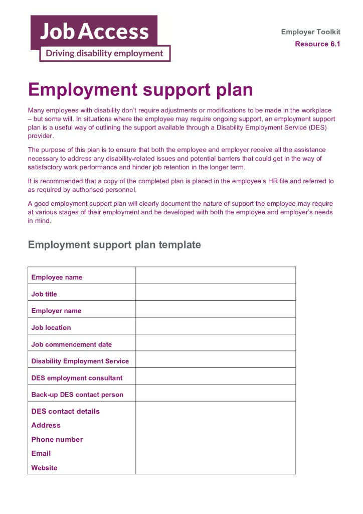 thumbnail of 13. Employment support plan template