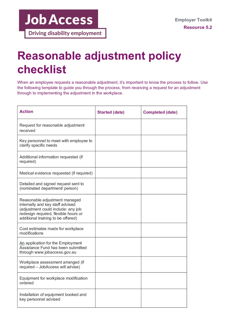 thumbnail of 17. Reasonable adjustment policy checklist