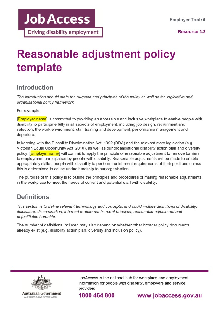 thumbnail of 18. Reasonable adjustment policy template