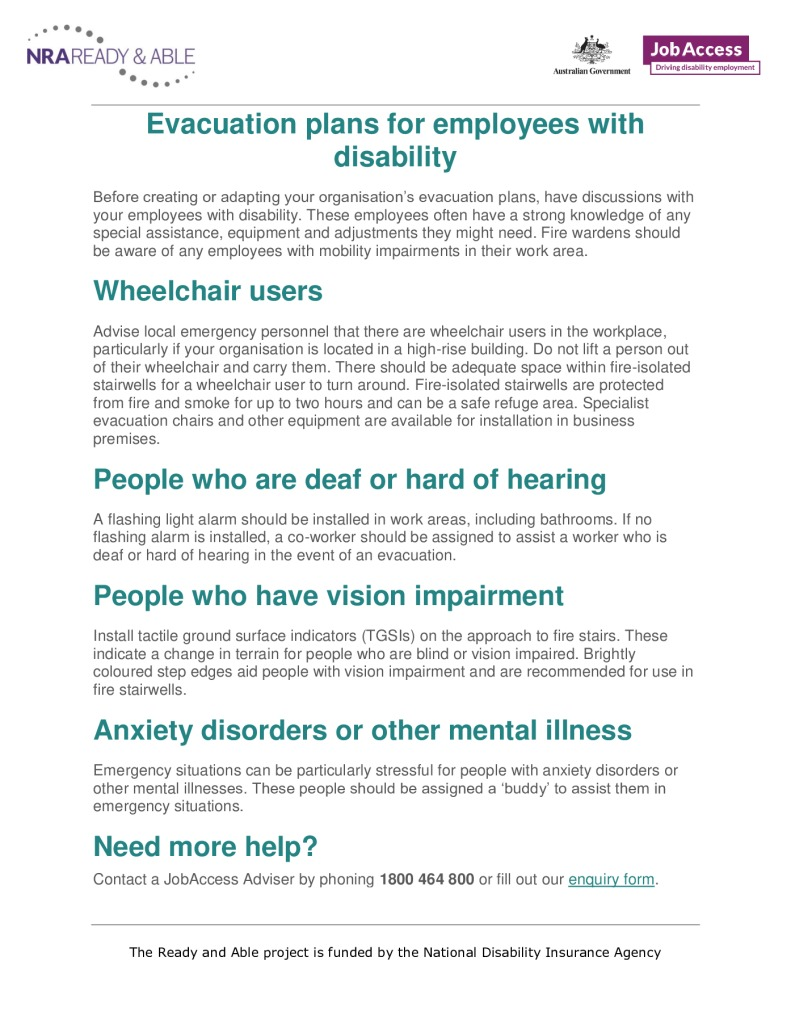 thumbnail of 21. Evacuation plans for employees with a disability